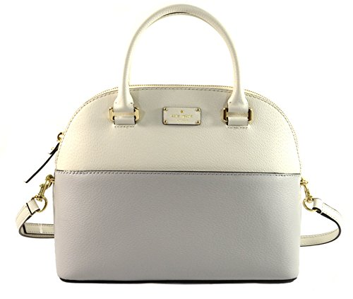 Kate Spade Grove Street Carli Leather Crossbody Bag Purse Handbag, Cream Light Grey
