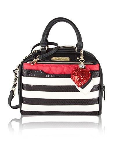 Betsey Johnson Removable Pouch Dome Satchel Bag (2 Piece) – Stripe