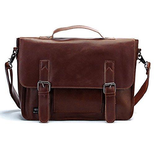 DesertWolf Vintage PU Briefcase – Shoulder Messenger Bag – Cross Body Bag