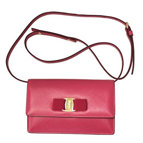 Ferragamo Women's Vara Pink Leather Clutch Mini Bag 22C543 W/Shoulder Strap