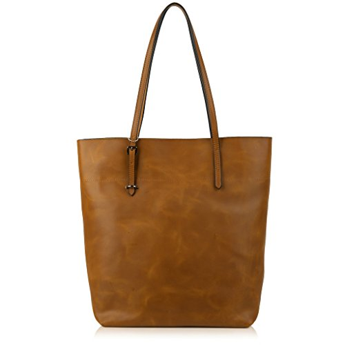 Christmas Big Sale- YALUXE Women's Vintage Style Crazy Horse Leather Work Tote Shoulder Bag