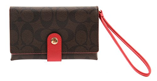 Coach Signature Phone Clutch in Brown/True Red, F53975 IML72