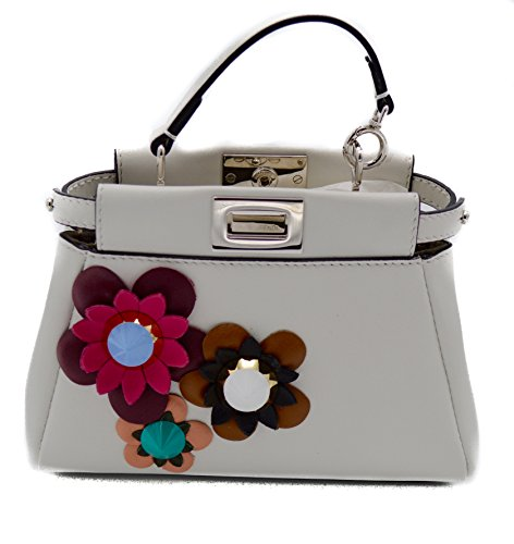 Fendi Micro Peekaboo Floral Embellished Satchel Cross Body Bag