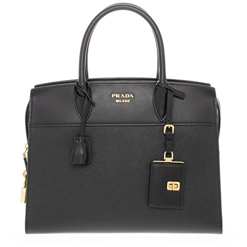 Prada Women's Esplanade' Saffiano and Calf Double Handle Handbag Black