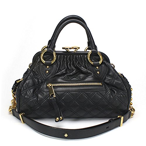 Marc Jacobs Classic Quilted Mini Stam Satchel Bag, Black Brass