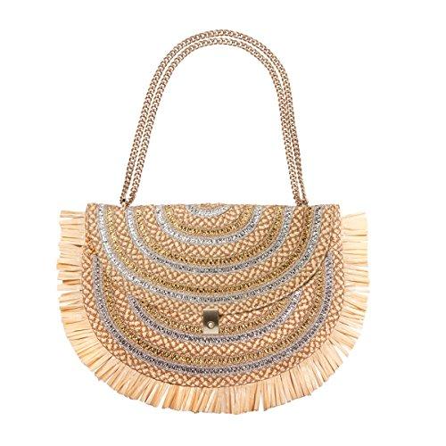 Eric Javits Designer Women's Tiki Pouch Handbag Peanut/Silver/Gold