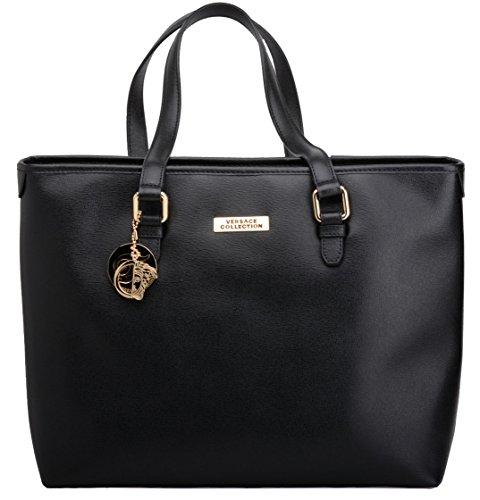 Versace Collection Women's Fashion Black Leather Shopper Bag LBFS375-LVSS