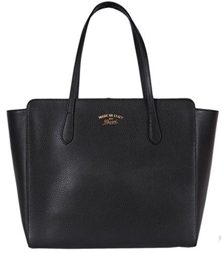 Gucci Women's Textured Leather Medium Trademark Logo Swing Tote Purse (Black)