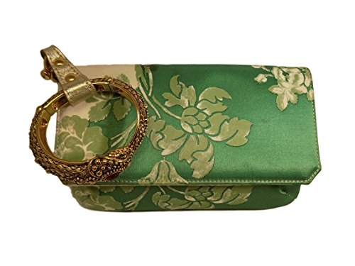 Roberto Cavalli Women's Wristlet Clutch Green Silk Wallet