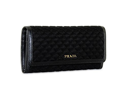 Prada Tessuto Quilted Nylon with Leather Wallet, Black (Nero) 1M1132
