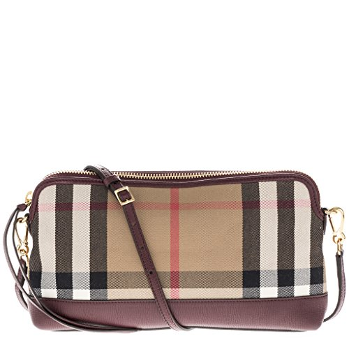 Burberry Women's House Check Leather Clutch Red