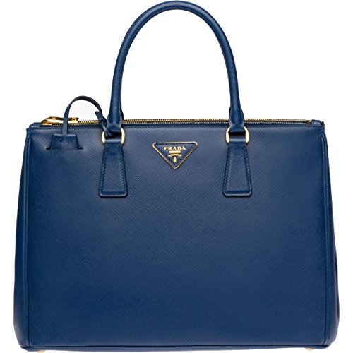 Prada Womens Galleria Leather Convertible Tote Handbag Blue Large