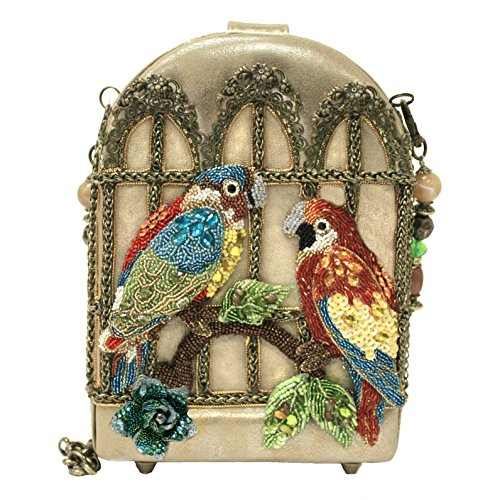 Mary Frances Handbag Feathered Friends Beaded Bejeweled Parrot Bird Cage Shoulder Bag