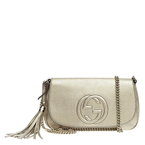 Gucci Soho Medium Chain Crossbody Gunmetal Golden Beige Metallic New