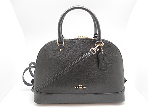 Coach F57524 Crossgrain Sierra Satchel Shoulder Handbag Black