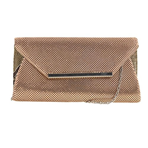 La Regale Womens Mesh Evening Clutch Handbag Bronze Small