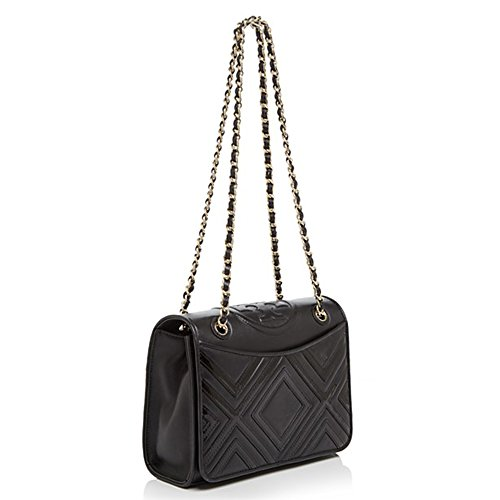 Tory Burch Fleming Geo-Leather Medium Shoulder Bag in Black