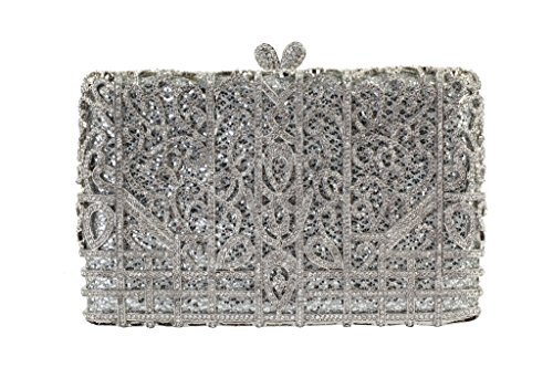 Yilongsheng Ladies Shiny Evening Clutch Bags with Pane Shaped Crystal Diamonds(Silver)
