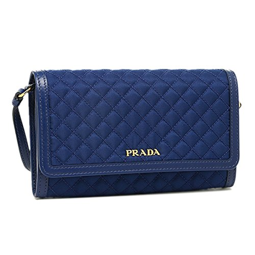 Prada Quilted Nylon & Soft Calf Leather Crossbody Shoulder Wallet Bag 1M1437, Royal Blue
