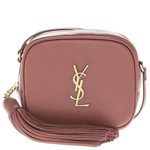 Saint Laurent Women's Monogram Gold Interlocking Logo 'Blogger' Shoulder Bag with Tassle Dark Salmon