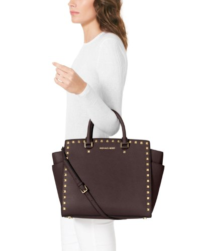 Michael Kors Selma North South Large Stud Satchel Coffee