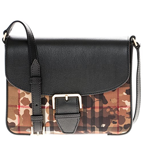 Burberry Women's Small Camouflage Horseferry Check Crossbody Bag Black