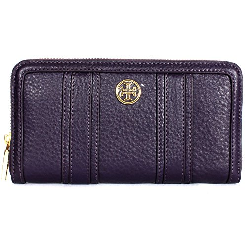 TORY BURCH LANDON ZIP CONTINENTAL WALLET PURPLE IRIS