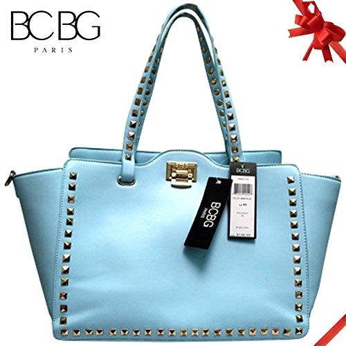 Bcbg Paris Simple Square Stud Tote W/Clasp Close , Style Pure Color Pu Leather Tote Shoulder Handbag for Women (Baby Blue)