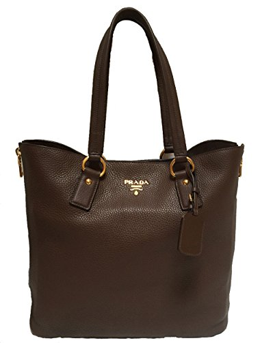 Prada Vitello Daino Bruciato Pebbled Shopping Brown Handbag Tote Shoulder Bag