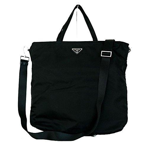 Prada Vela Black Blue Tessuto Nylon Shoulder Tote Bag BN2894