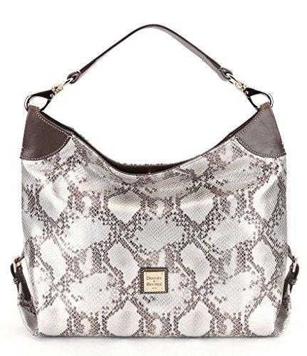Dooney & Bourke Kitney Medium Python Embossed Leather Sac Hobo (Silver)