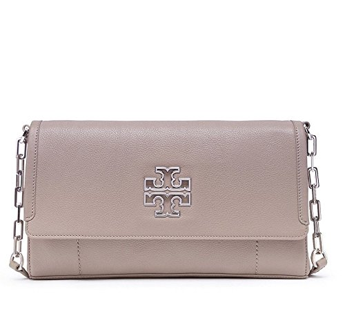 Tory Burch BRITTEN Fold Over Messeger Bag in French Grey Style 41159888