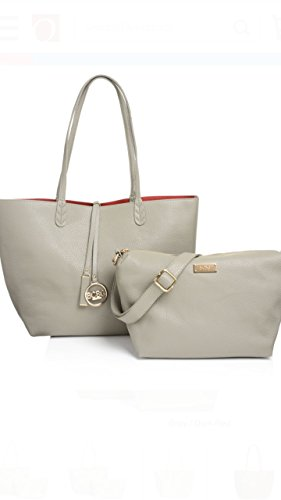 BCBG PARIS REVERSIBLE LOCK TOTE WITH CONVERTIBLE MATCHING BAG GREY/RED