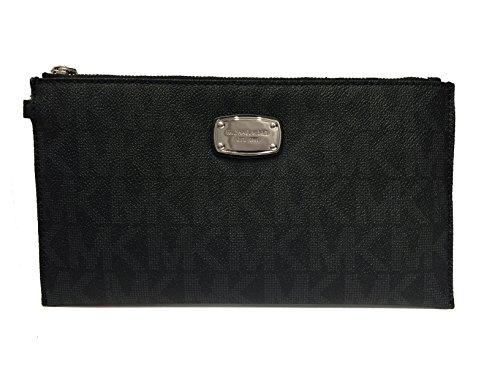 Michael Kors Jet Set Item Large PVC Top Zip Clutch & Wristlet (Black)