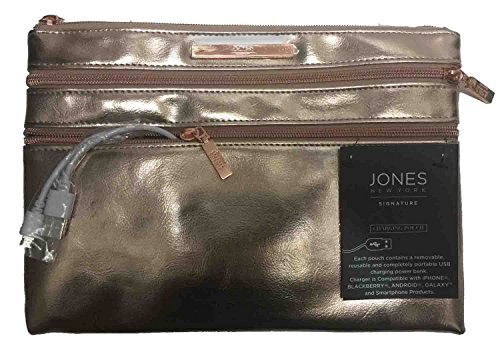 Jones New York Signature Charging Pouch Gold Metallic Zip Closure
