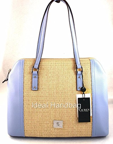 RALPH LAUREN PERCY BLUE BROWN DOME SATCHEL BAG