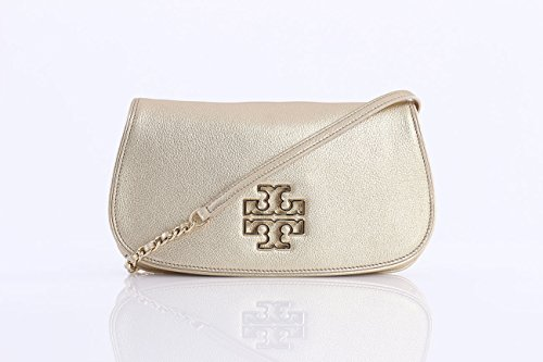 Tory Burch Britten Leather Clutch – Gold