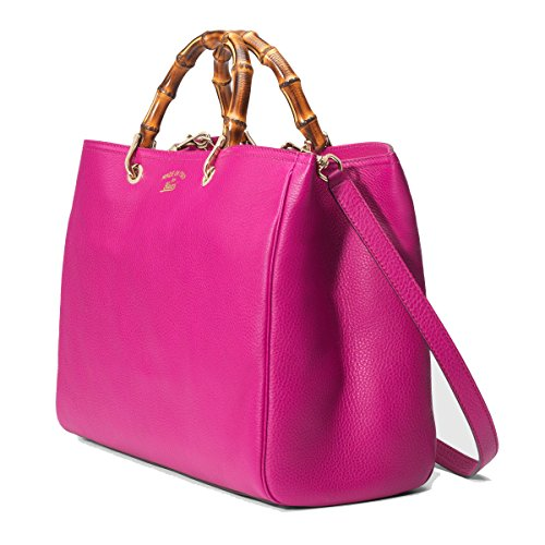 Gucci Leather Bamboo Shopper Tote Shoulder Bag 323658 – Bright Hot Pink