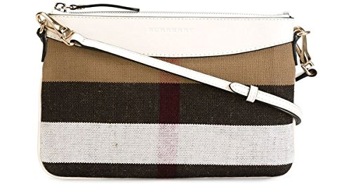 Burberry Canvas Check Peyton Crossbody Wristlet White