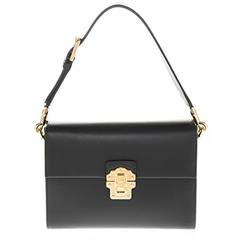 Dolce Gabbana Women's Dolce & Gabbana Gold Push-Lock Flap Grained Shoulder Bag Black