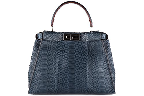 Fendi women's leather handbag shopping bag purse elaphe peekaboo regular pitone