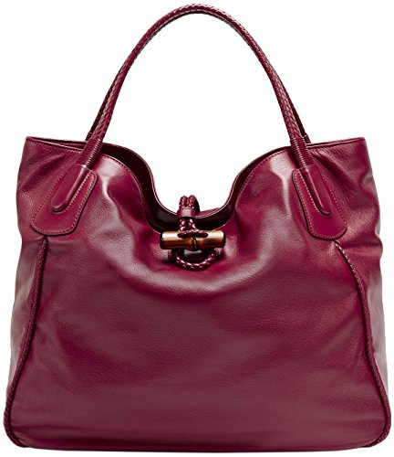 Gucci Raspberry Leather Hip Bamboo Large Tote Bag