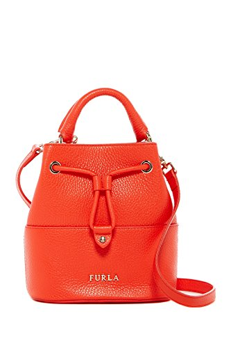 Furla Brooklyn Mini Leather Drawstring Cross Body Bag, Arancio