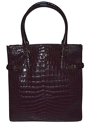 Kate Spade Vanston Croc Jackson Mulled Wine Tote Handbag Bag Purse Womens
