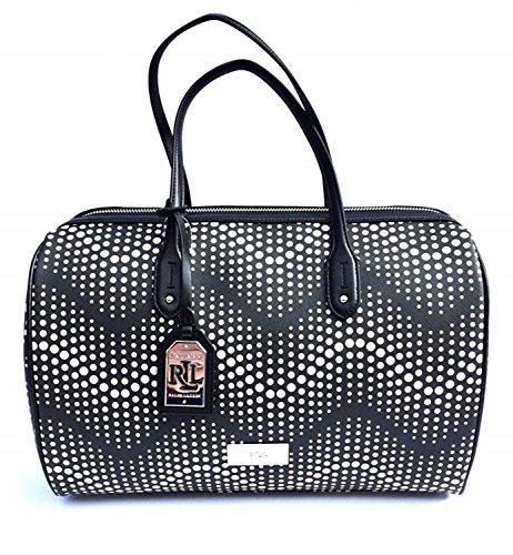 Lauren Ralph Lauren Women's Delwood Barrel Satchel Handbag, Black/Stone