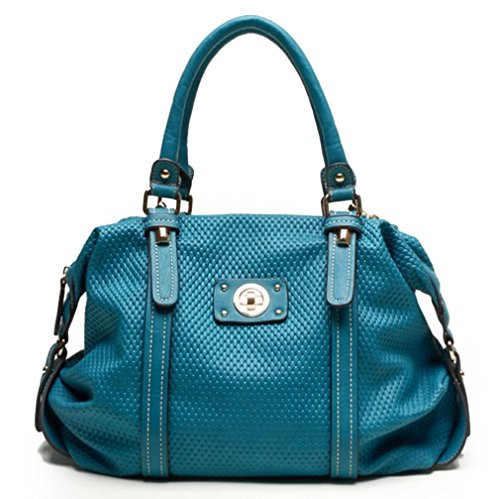 Tosca USA, Quality 2-Compartment Dome Satchel w/ Extra Strap- Turquoise