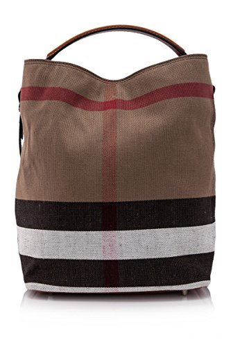 Burberry The Ashby Medium Canvas Check Tote – Saddle Brown