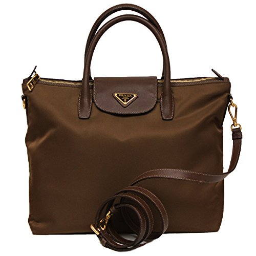 Prada BN2541 Corinto Tessuto Saffian Brown Nylon Leather Shopping Tote Bag