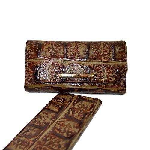 Brahmin Soft Checkbook wallet Espresso Ornico Leather
