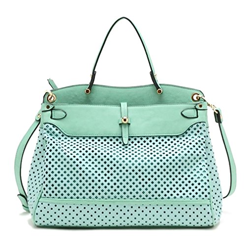 Tosca USA, Quality Top Handle Eyelet Tote w/ Crossbody Strap- Mint